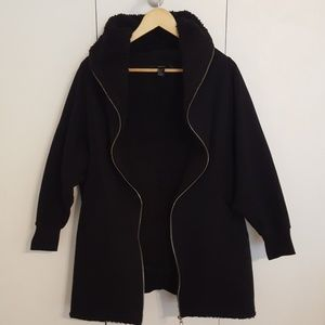 FOREVER 21 Black Sherpa Lined Coat Jacket Small